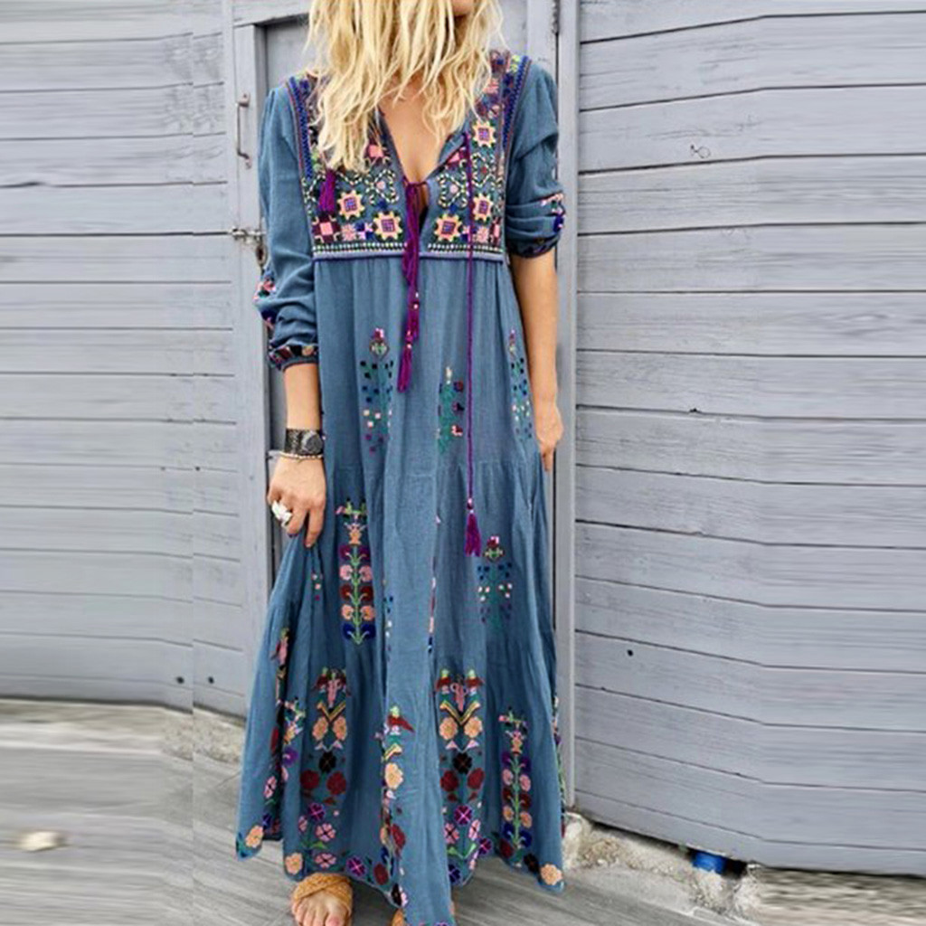 Women Plus Size S XL V Neck Print Lace Up Long Sleeve Boho Dress Party Maxi