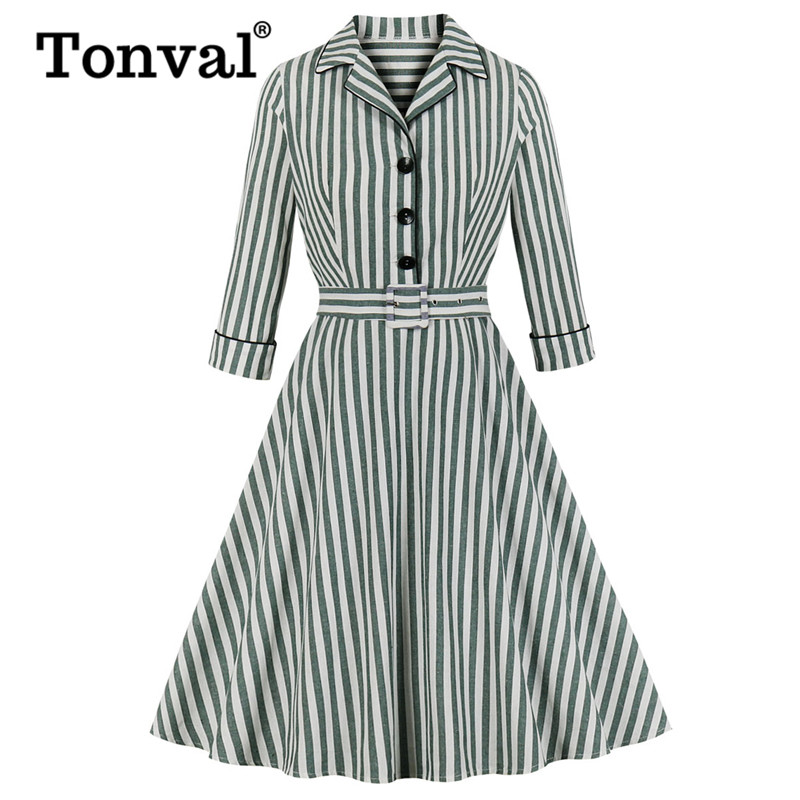 Tonval Green Striped Notched Collar Women Vintage Shirt Dress Button Up 3/4 Sleeve Autumn Belted Office Lady Flared Dresses
