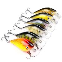 DSstyles 6Pcs Fishing Lures Set 6 Colors 7.6cm 12.7g Crank Baits Artificial Plastic Swimbait with Dual Treble Hooks