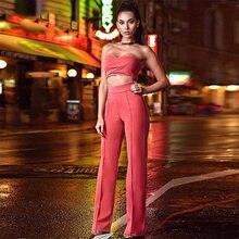 Seamyla 2018 Nova Moda Inverno Mulheres Bodysuit Conjunto de Duas Peças  Sexy Strapless Top Calças Cheios de315c1e08