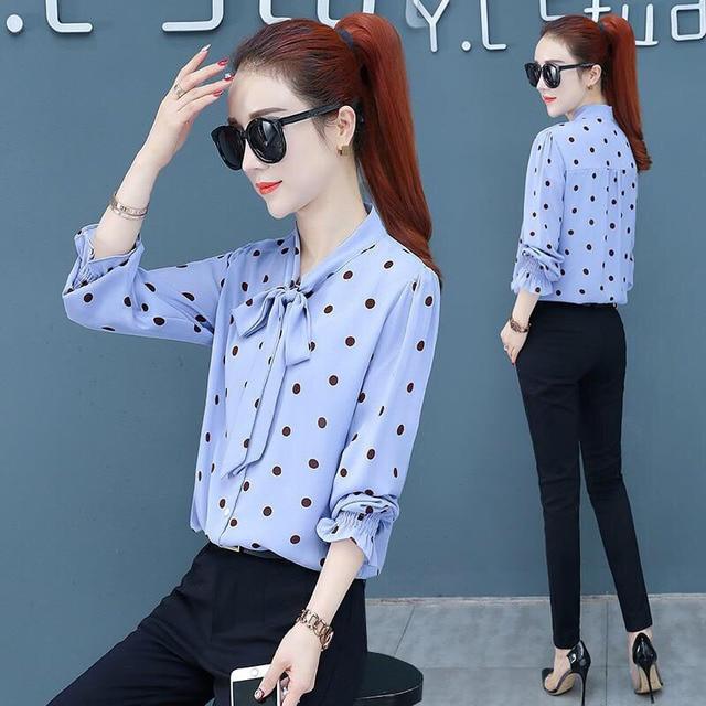 Spring Polka Dot Print Chiffon Blouses Women Lace-up Bow Office Elegant Shirts Tops Long Sleeve V-neck Blusas Mujer DD2614 3