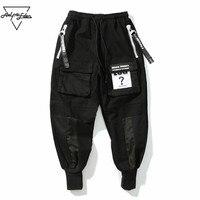 Aelfric E Den Cargo PantสีดำบุรุษJoggersกางเกงริบบิ้นสะโพกHop