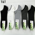 10PCS Bamboo Fiber cool men's mens mannen brand  coolmax invisible no show black white dress cotton sokken socks MS0012