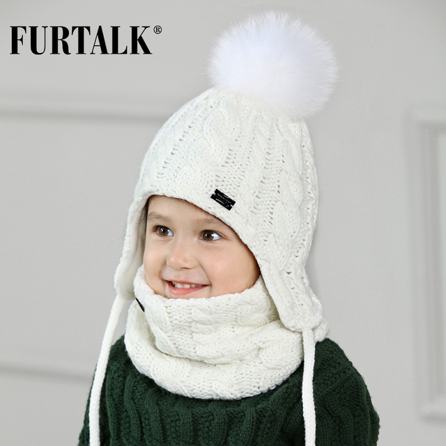 FURTALK Children Hat And Scarf Set for Girls and Boys Knitted Winter Hats Real Fox Fur Pompom Ears Hats Thick Warm Beanies cap