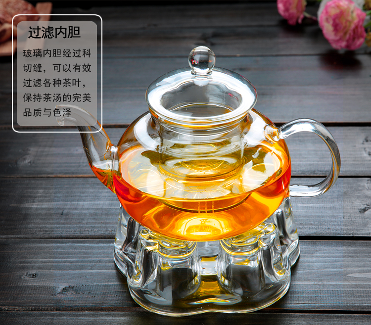 Glass Teapot 600ml + One Heart Shape Warmer Base  Tea Set