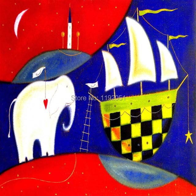 Elephant Boats Canvas Painting Children Kids Stuff Cartoon Picture Oil Prints Single Panel Free