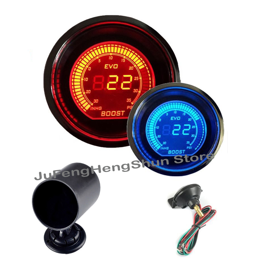 52mm Car Turbo Boost Vacuum Gauge Psi 12V Auto Blue Red LED Light - Auto Replacement Parts