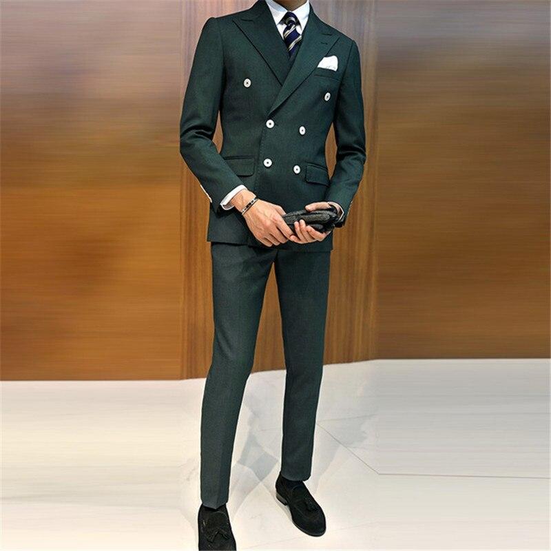 2017 Dark Green Business Groom Tuxedo Slim Fit Men Wedding Suits 3 Pieces (Jacket+Vest+Pants ) Blazer Double Breasted Mens Suit
