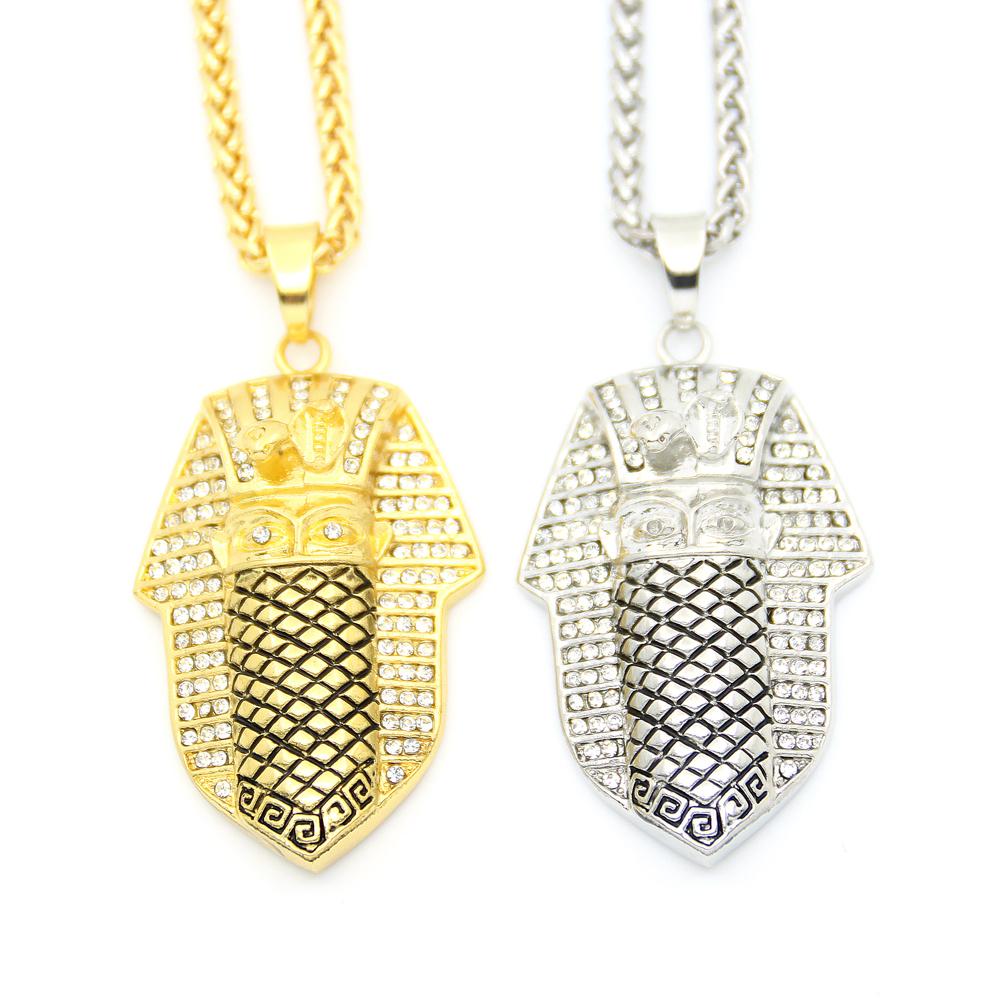 New 2 Colors Hip Hop Ice Out Bling Egypt Pharaoh King Pendants Necklaces  For Men Jewelry