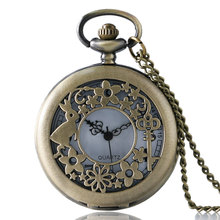 Antique Bronze Rabbit Key Flower Hollow Quartz Pocket Watch Necklace Pendant Chain Mens Womens Gift