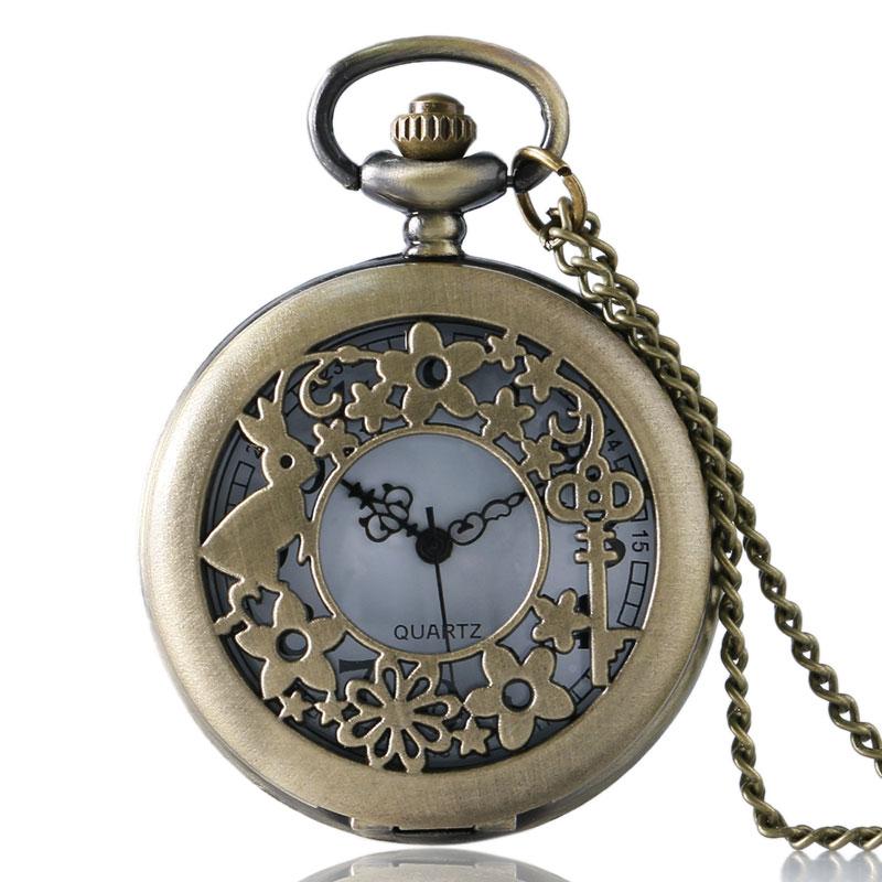Antique Rabbit Key Flower Hollow Quartz Beautiful Nurse Pocket Watch Necklace Pendant Chain Girls Womens Cute Gift Relogio Bolso