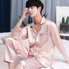 2019 New Brand Pyjamas Full Sleeves Long Pants Pajama Set High Quality Satin Silk Sleepwear Men Pajamas