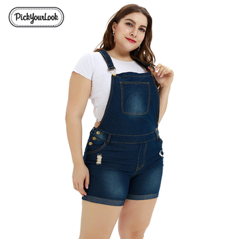 Pickyourlook Plus Size Women Jumpsuits Denim Blue Pocket Female Rompers Overalls Summer Playsuit Fashion Belted Ladies Overalls