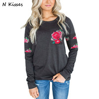 Nkisses 2017 New Women Hoodie Pattern Ladies Rose Printing Hoodies Good Quality Brand Large Size Autumn