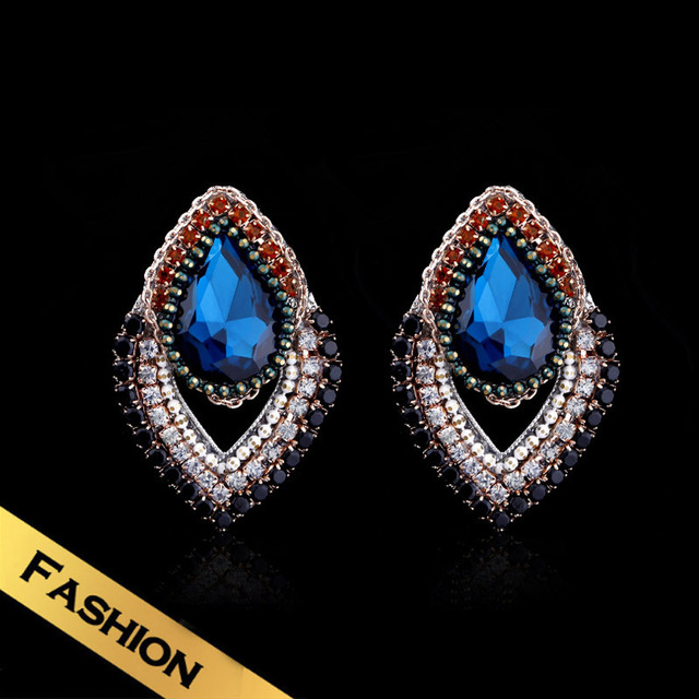 Special Bohemian Zircon Stud Earrings Free Shipping Colorful Drill Earring For Women Handmade EH13A100715