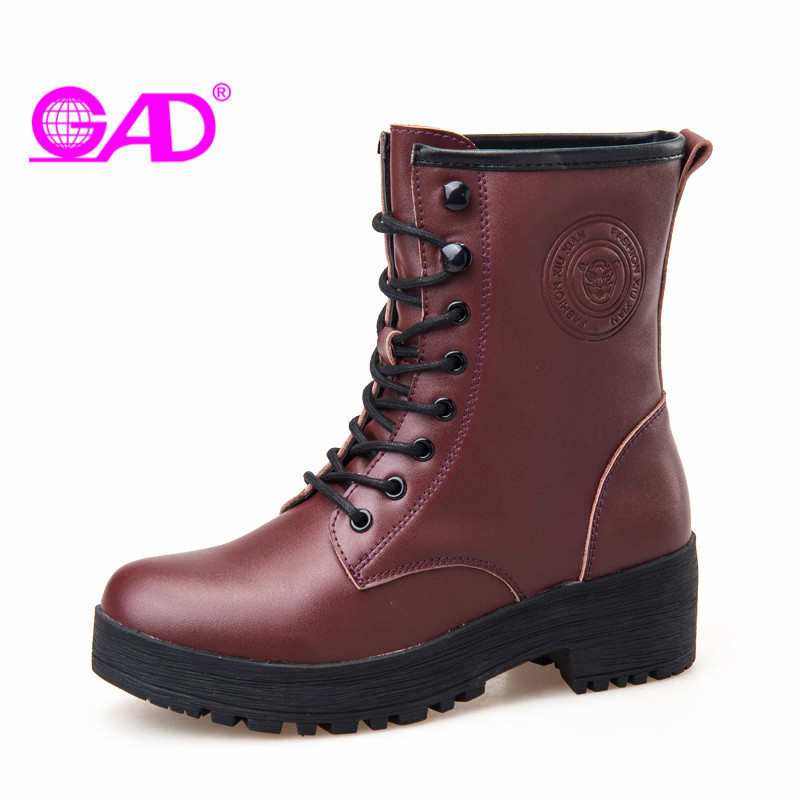 GAD Mid Heel Women Ankle Boots 2017 Autumn/winter New Arrival Round Toe Lace-up Women Leather Riding Boots Keep Warm Women Shoes new arrival 2016 winter keep warm women boots low heel round toe platform shoes solid genuine leather mid calf boots