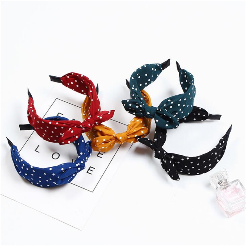 Fashion Women Girls Bezel Rabbit Ear Sweet Headband Hairband Female Girls Simple Korean Style Dot Hair Accessories   Headwear
