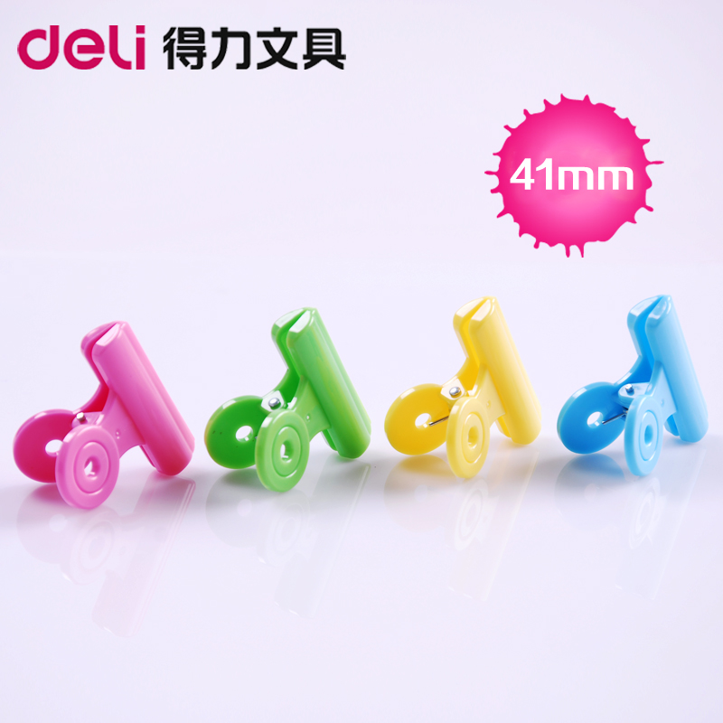 Free Shipping (5pcs/set) 41mm multicolour plastic circle clip spring paper clip novelty stationery bag clip party favor