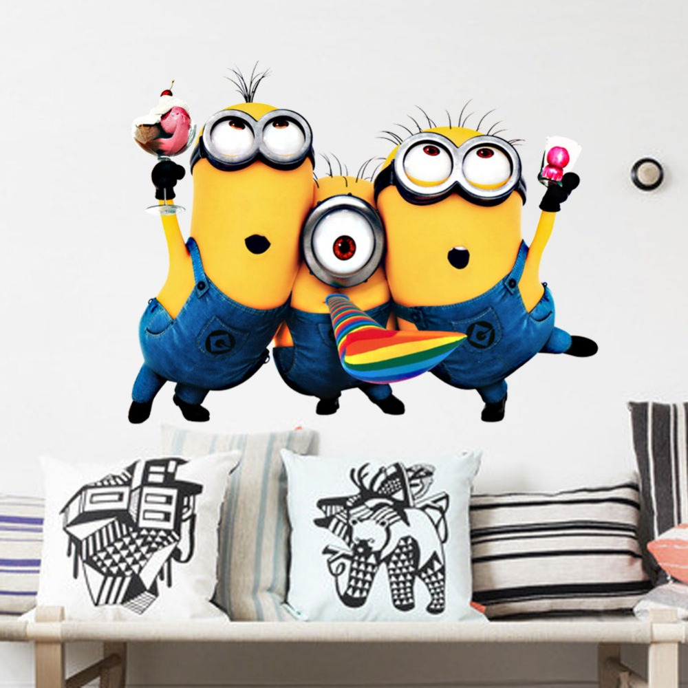 Lamp light wall art decor removable mural vinyl decal sticker purple - New Minions Despicable Me 2 Wall Art Decal Removable Kids 3d Stickers Home Decor Size 25