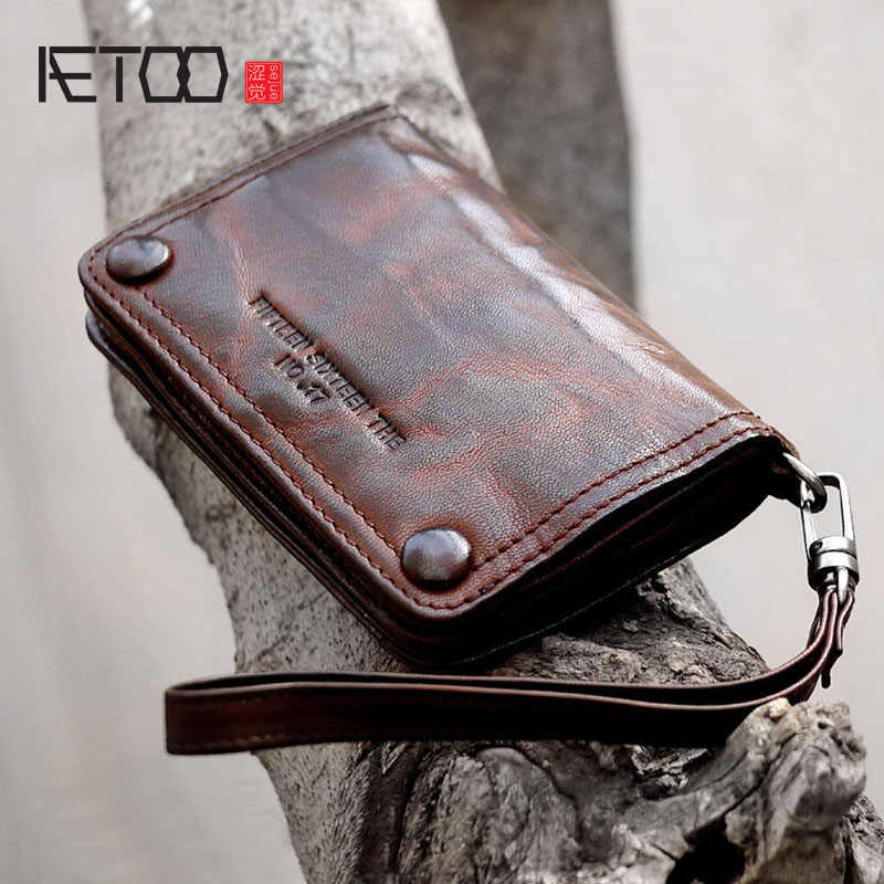 AETOO New retro handmade leather sheepskin casual short section men and women hipster wallet purse handbags set hand
