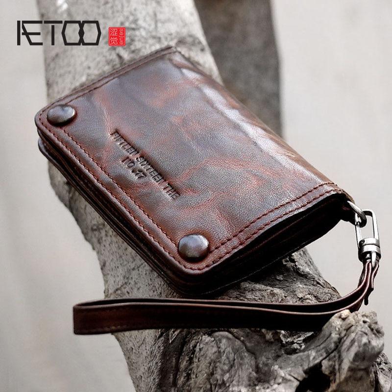 AETOO New Retro Handmade Leather Sheepskin Casual Short Section Men And Women Hipster Wallet Purse Handbags Set Hand