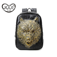 GOOG.YU New Relief shape leather backpack men and women laptop 3d wolf head personality luggage tag