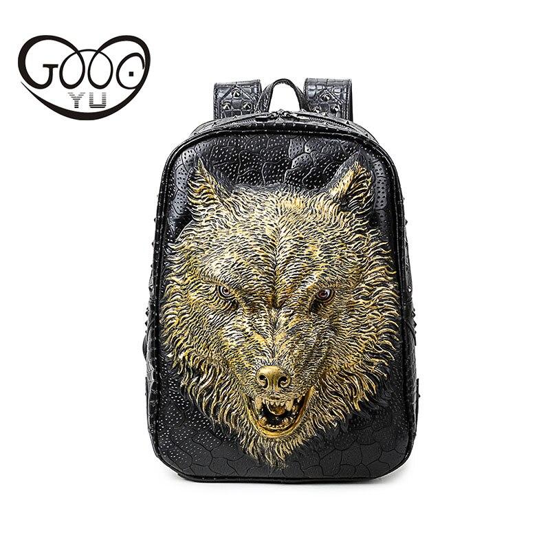 GOOG. YU nouvelle forme de Relief en cuir sac à dos hommes et femmes forme de soulagement sac à dos pour ordinateur portable femmes 3d tête de loup personnalité étiquette de bagage