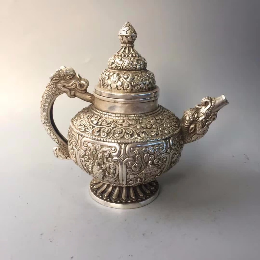 Bottles, Jars & Boxes Art Collection Tibet Silver Old Handmade Carving Dragon Pot /chinese Antique Tea Pot A0002 A Wide Selection Of Colours And Designs Enthusiastic Home/desk Decoration Teapot Crafts