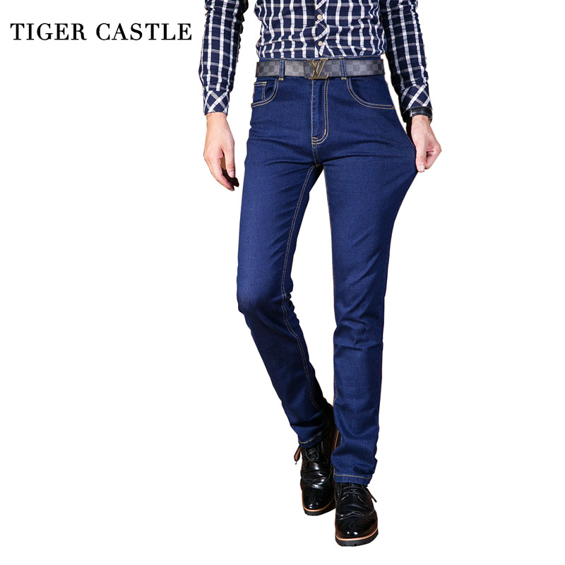TIGER CASTLE Mens High Stretch Blue Jeans Casual Straight Male Cotton Classic Denim Pants Brand Skinny Overalls Jeans Men  tiger castle baggy men black jeans stretch classic cotton trousers men casual black denim loose lightweight pants size 40 42