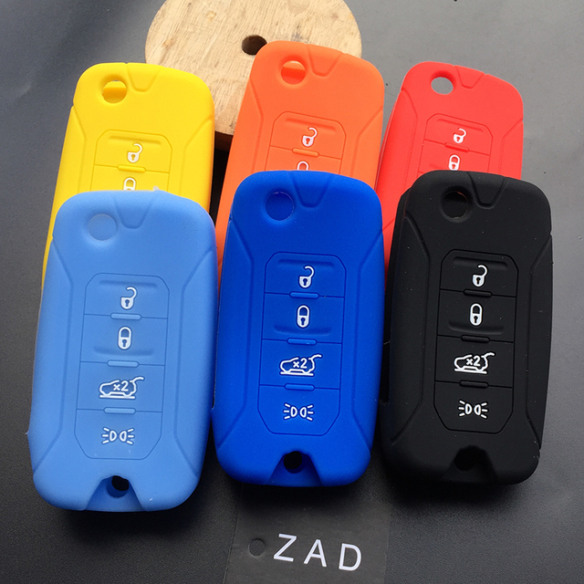 ZAD Silicone car key Case Cover FOB for Jeep Renegade hard steel 2016 folding remote 4button key holder protector car styling