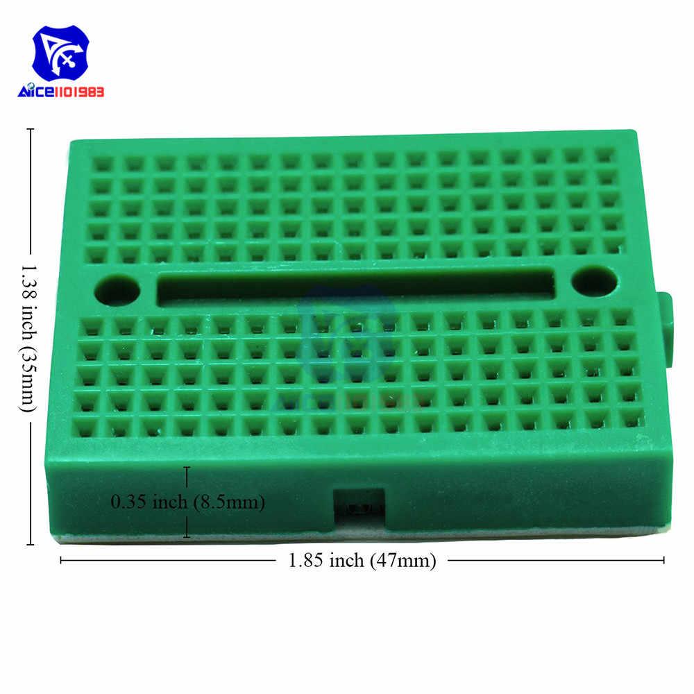 Diymore 1 sztuka 6 kolorów dostępne 170 Tie-Points Mini Breadboard z otworami do szycia Stickup dla Arduino Prototype Shield