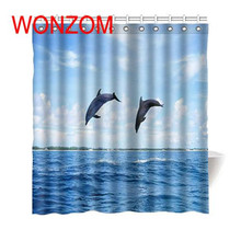 цены WONZOM Polyester Jumping Dolphin Shower Curtains with 12 Hooks For Bathroom Decor Modern Dolphin Bath Waterproof Curtain Gift