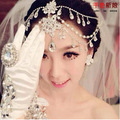 Bridal Jewelry Pearl Tiara Crown Wedding Head Chains Alloy Rhinestone Hair Ornaments Party Crysta Hair Cuff Pin Hair jewelry