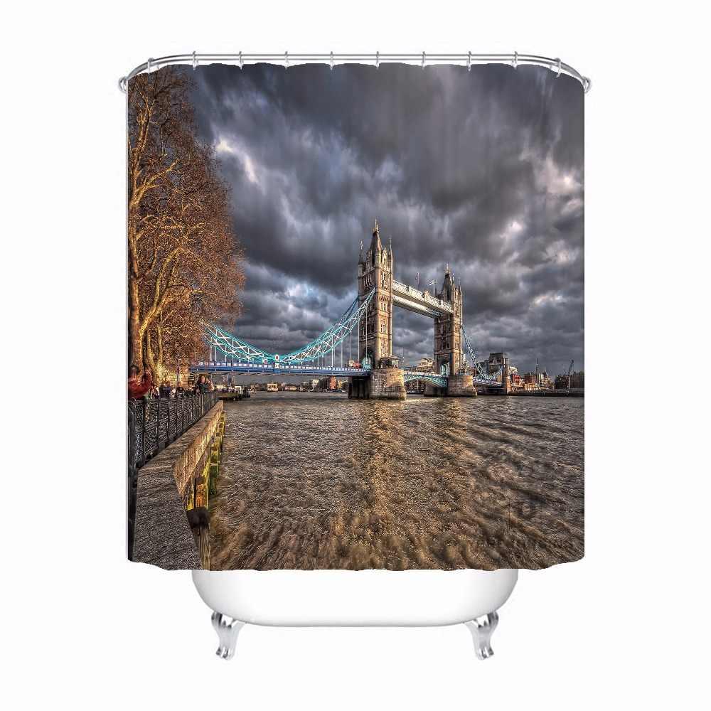 CustomTower Bridge di Londra Tessuto Tenda Bagno Mildewproof Impermeabile Poliestere Shower Curtain #180417-02-116
