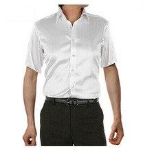 2017 marca de verano estilo de la Alta calidad de Imitación de seda de Manga corta Camisa de Los Hombres camisa masculina Camisas de vestir casuales camisas hombre