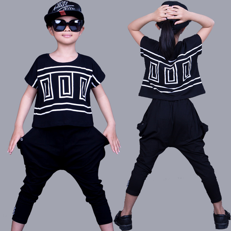 где купить Children Hip Hop Clothing Sets Girls Sports Suit Summer Bat Sleeve Shirt+Harem Pants Kids Baby Girl Clothes Suits Girls 2pcs/set по лучшей цене