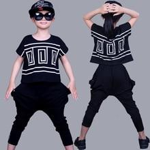 Children Hip Hop Clothing Sets Girls Sports Suit Summer Bat Sleeve Shirt+Harem Pants Kids Baby Girl Clothes Suits Girls 2pcs/set