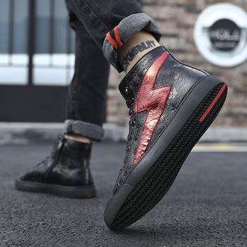 Street Hip Hop Sneakers Dancing Casual Rock Shoes Wax Leather Canvas Ankle Botas Classic Lace Up High Top Shoes Men Sneakers