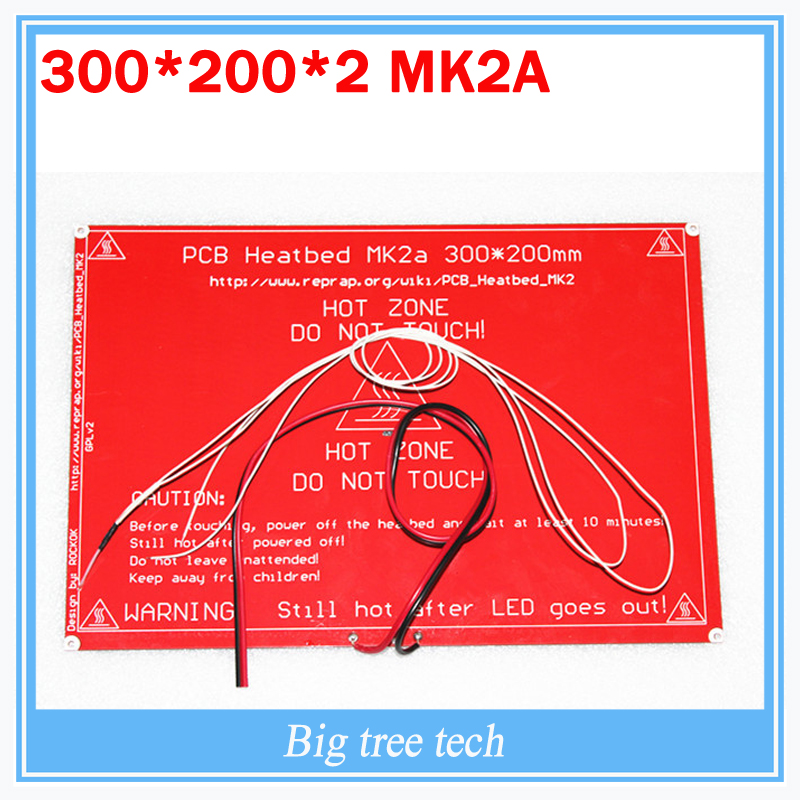 PCB Heatbed MK2A with led Resistor and cable for 3D printer RepRap RAMPS 1.4 hot bed 300*200*2.0 + 100K ohm NTC 3950 Thermistors