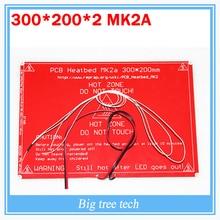 Печатной платы heatbed MK2A со светодиодной резистор и кабель для 3D RepRap Принтер пандусы 1.4 Горячая кровать 300*200*2.0 + 100 К Ом NTC 3950 Термисторы