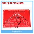 Pcb Heatbed MK2A con led resistencia y cable para impresora 3D RepRap rampas 1.4 cama caliente 300 * 200 * 2.0 100 K ohm NTC 3950 termistores