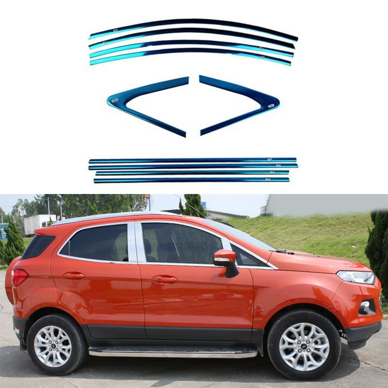 Full Window Trim Decoration Strips  Exterior Accessories For Ford Ecosport 2014 2015 Stainless Steel Car Styling OEM-14-20 high quality stainless steel strips car window trim decoration accessories car styling for 2013 2015 ford ecosport 14 piece