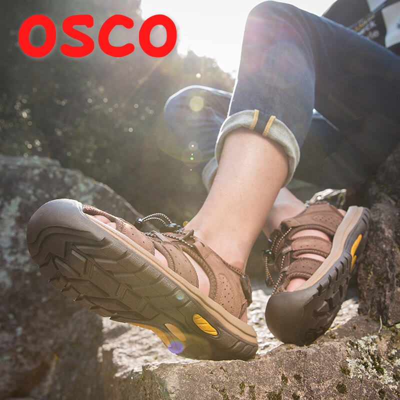 OSCO Genuine leather Men Sandals Slippers 2018 New Sandals Men Falt Beach Sandals Summer Shoes Men's Roman Sandal 2018 top quality sandal men summer slippers male genuine leather sandals men outdoor beach shoes