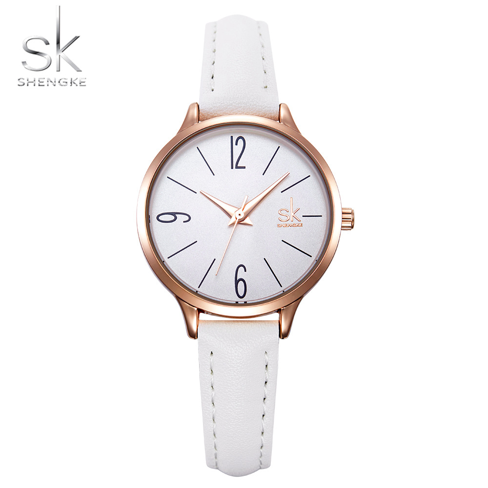 Shengke Fashion Female's Watches White Leather Girl Wristwatches Simple Women Quartz Clock Comfortable Buckle Round Case Hour