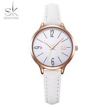 Shengke модные женские часы белая кожа девушка наручные часы простой для женщин кварцевые удобные пряжки круглый корпус час