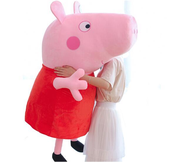 81 cm 32 ''très grand véritable Peppa cochon en peluche poupée jouet en peluche cadeau de noël pour les enfants de haute qualité 1 pc Peppa George poupée