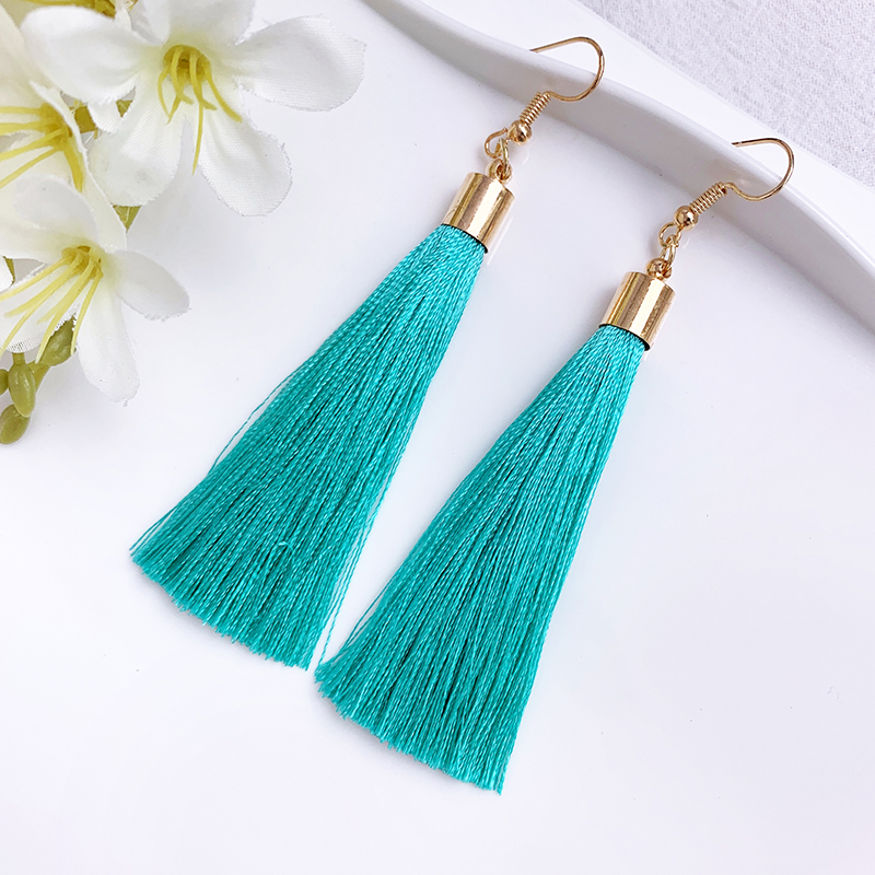 Handmade Tassel Earrings Women Gold Color Fashion Jewelry Bohemian Drop Dangle Long Earrings Silk Fabric Ethnic Vintage Earrings
