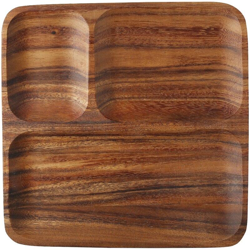 Placas de jantar de madeira maciça combinação conjuntos de louça pratos de madeira prato comida rápida toda peça bandeja de serviço de madeira - 4