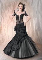Black Trumpet Mermaid Deep V Neck Short Cap Sleeves Sheer Bodice Wedding Dress