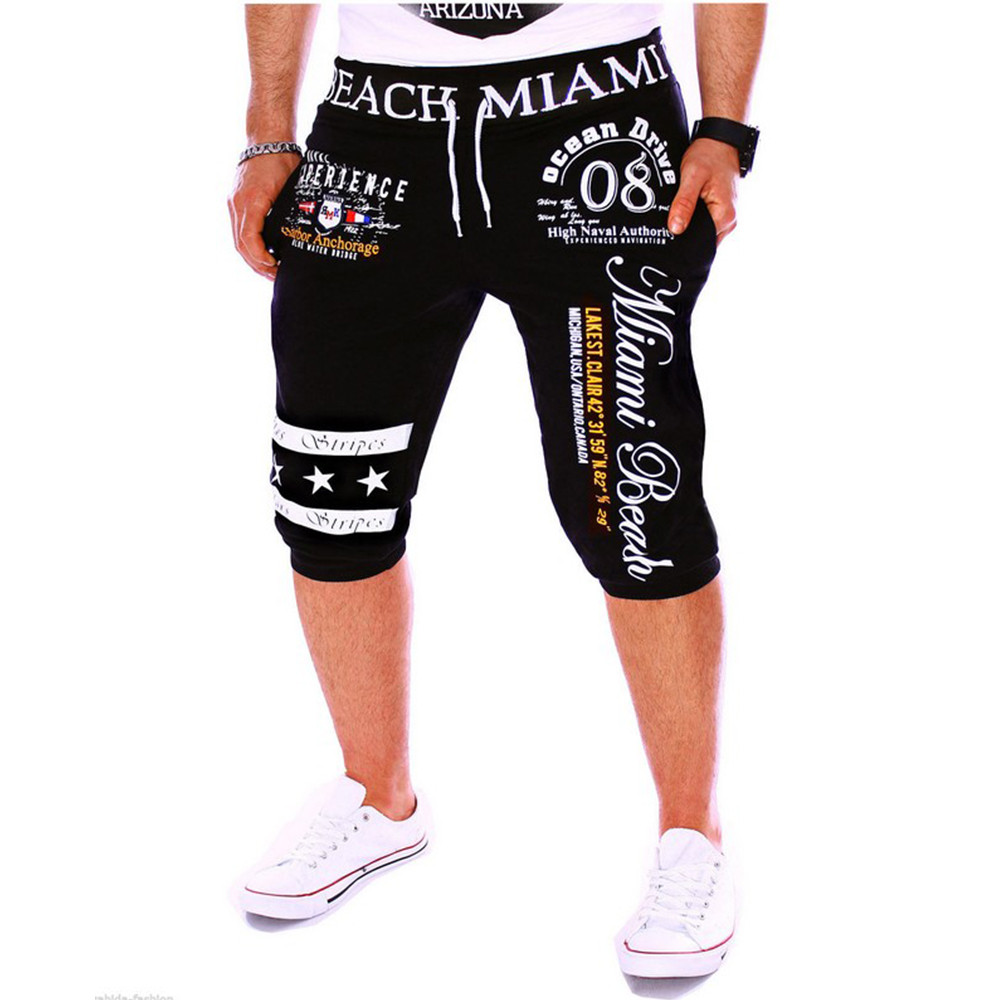 Pants Drawstring Elastic-Waist Printing Fitness Jogging Male Summer Casual Fashion-Brand